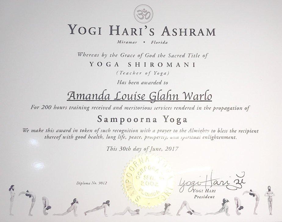 yoga teaching certificate - amanda warlow dubai uae