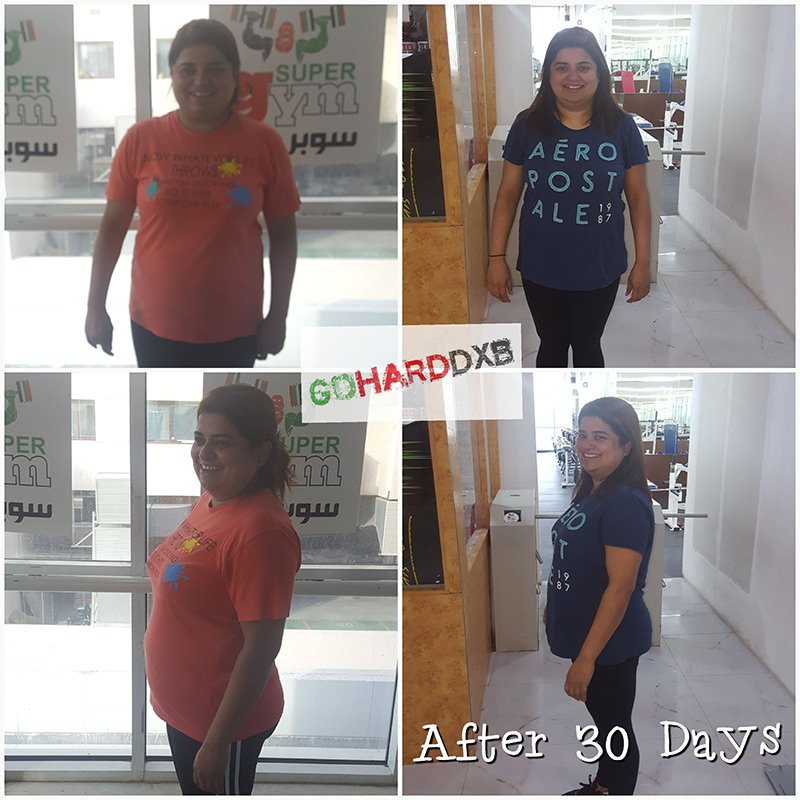 Dubai 1 Month Weight Loss Programe Client Results - Professional Dubai PT Hussein