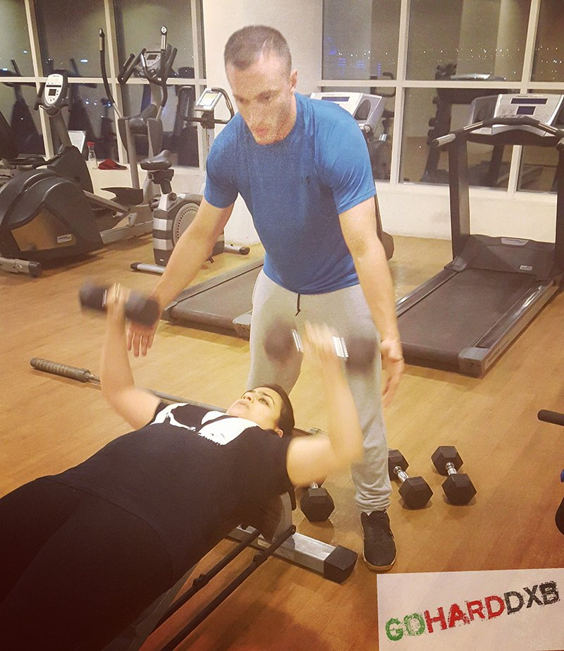 Dubai Personal Trainer Hussein - Weight Lifting With Personal Training Client