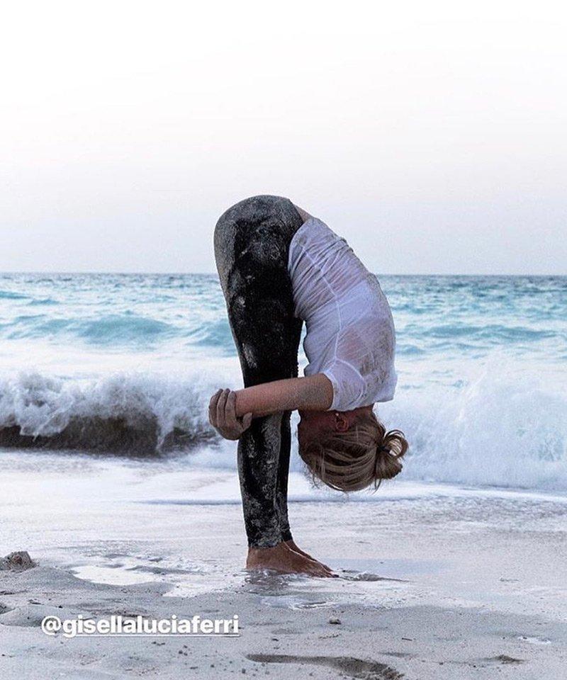 Yoga training on the beach with Gisella Ferri In Abu Dhabi, UAE