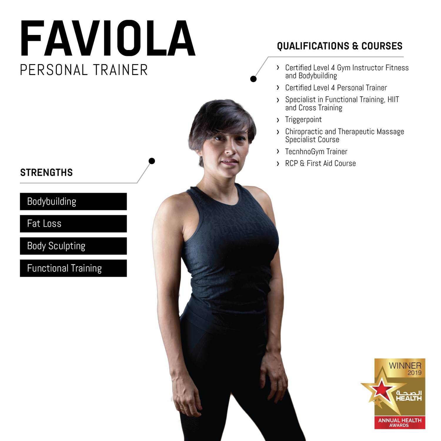 female PT in abu dhabi faviola - key experience