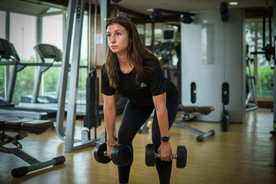 Vanessa - Abu Dhabi Trainer Working Out With Dumbbells 2