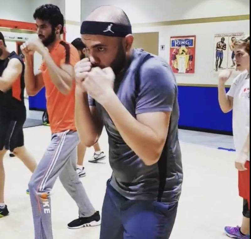 Boxing training in the gym in Dubai with coach Anahit