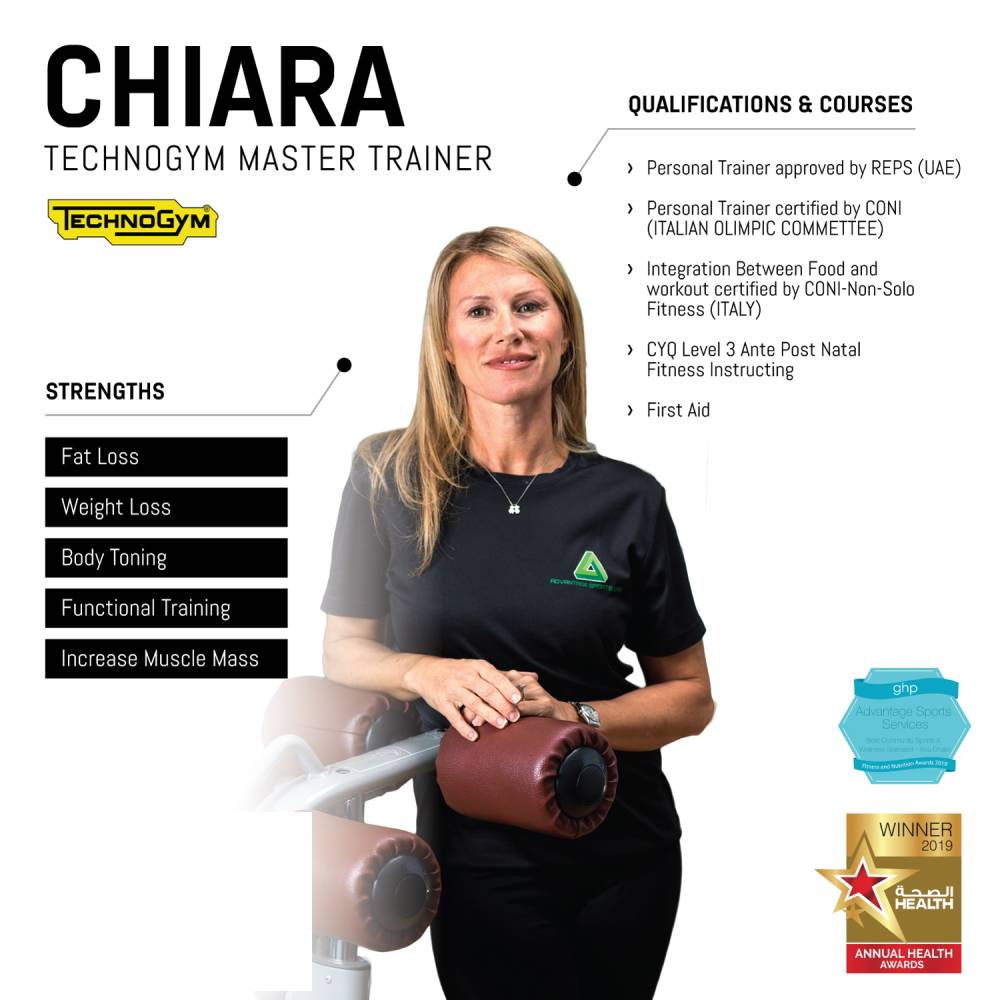 chiara - female abu dhabi personal trainer - skills and qualifications infographic