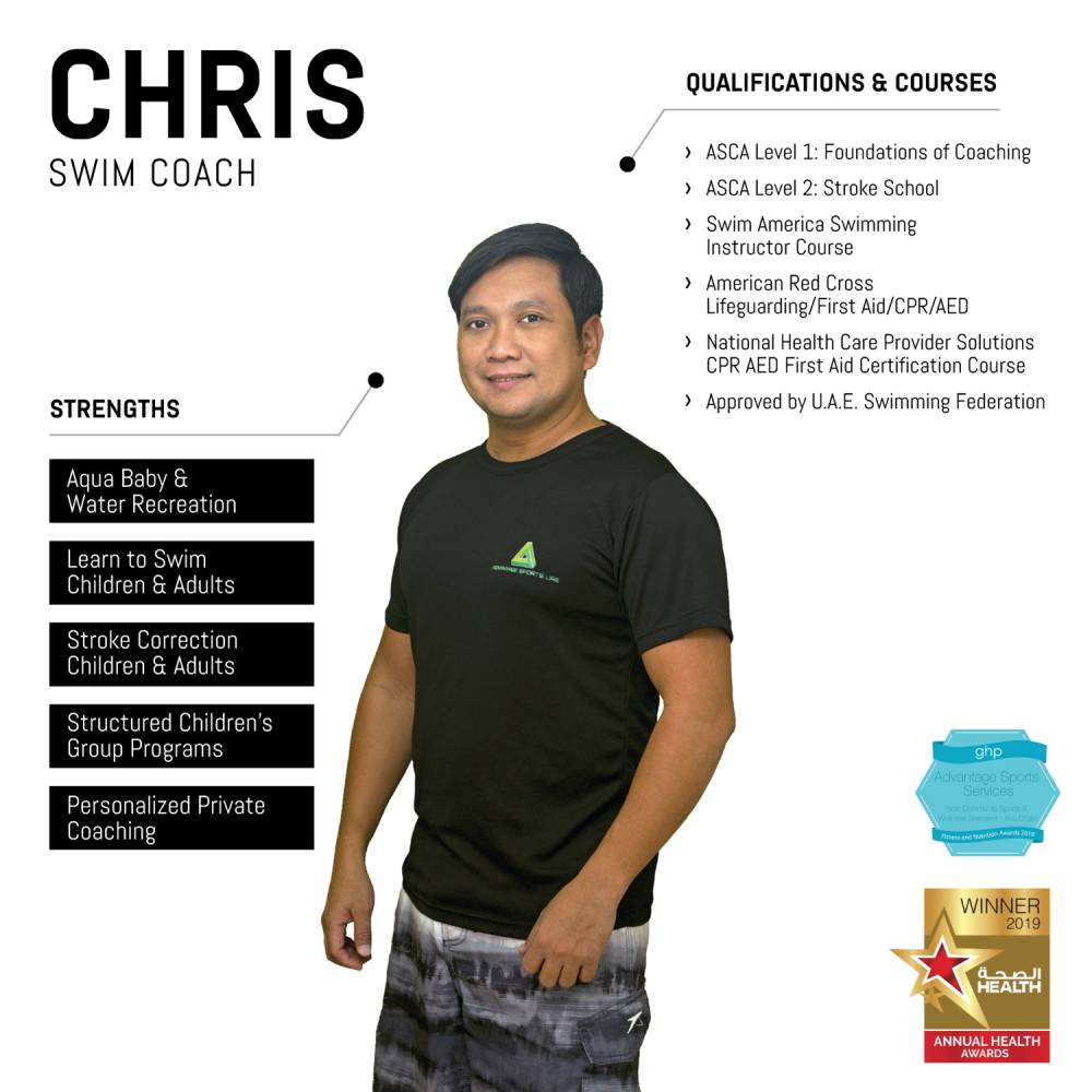 chris - abu dhabi personal swimming coach - skills and qualifications infographic
