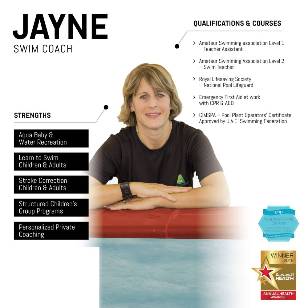jayne - female abu dhabi swimming coach - skills and qualifications infographic