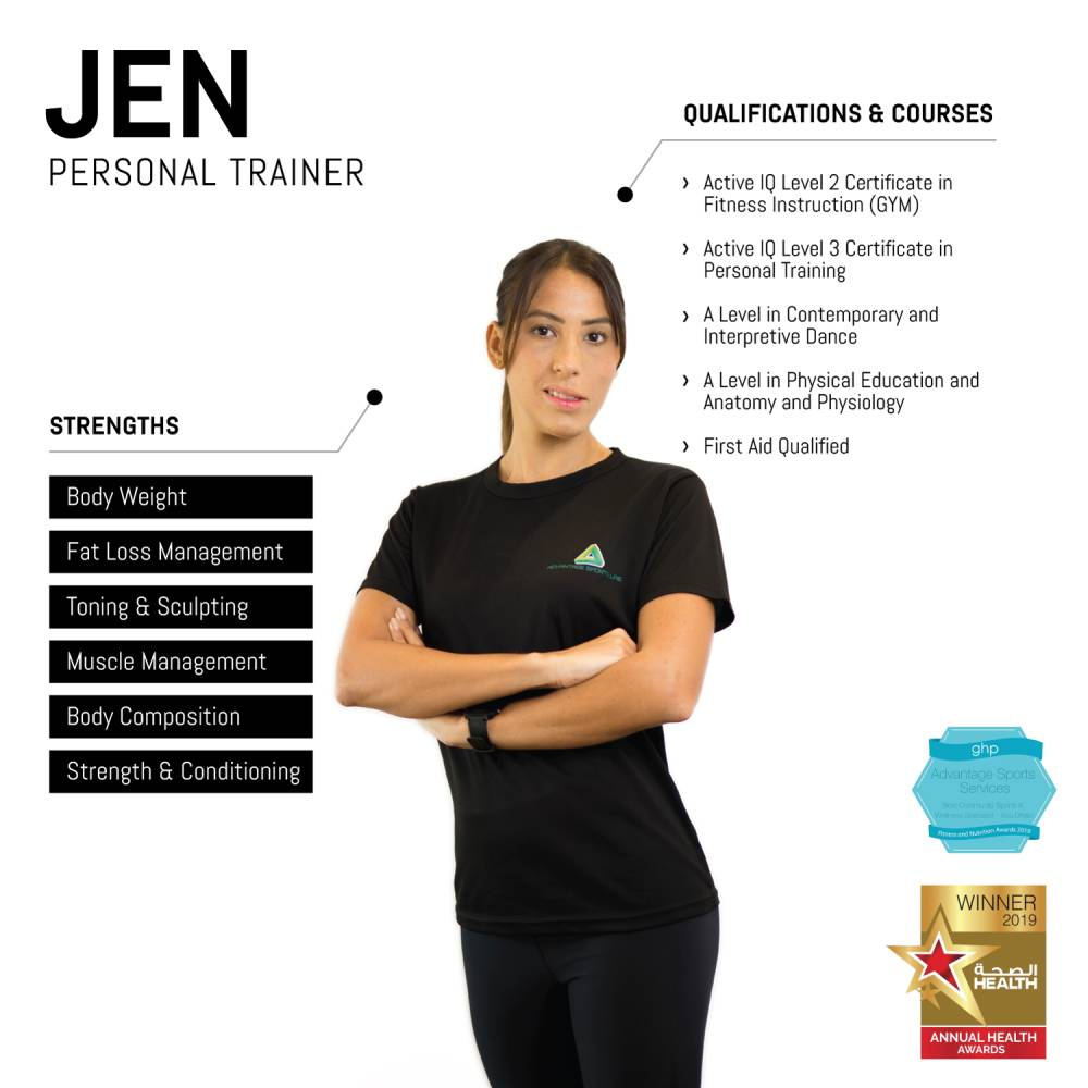 jen - female abu dhabi personal trainer - skills and qualifications infographic