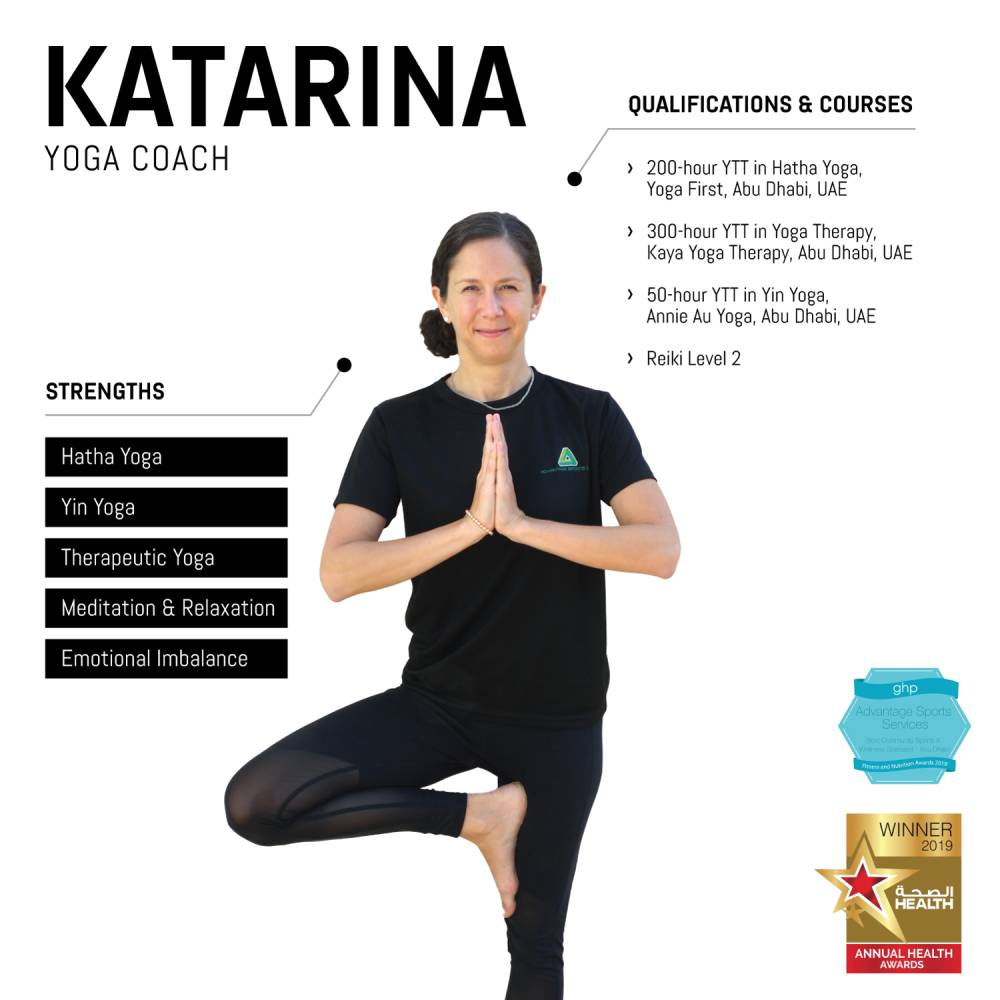 katarina - female abu dhabi personal yoga trainer - skills and qualifications infographic