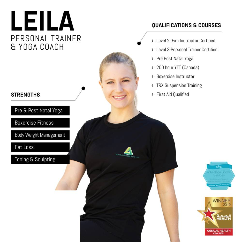 leila - female abu dhabi personal trainer and yoga coach - skills and qualifications infographic