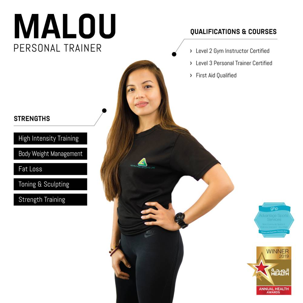 malou - female abu dhabi personal trainer - skills and qualifications infographic