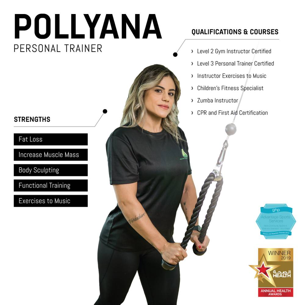 pollyana - female abu dhabi personal trainer - skills and qualifications infographic