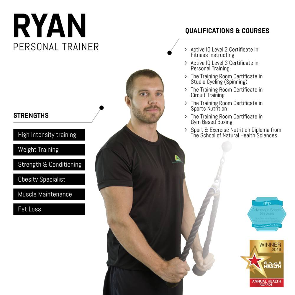 ryan - abu dhabi personal trainer - skills and qualifications infographic