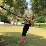 TRX traiing outdoors in Dubai with ladies PT Irina