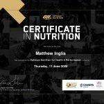 Matt Inglis Personal Trainer in Abu Dhabi - Nutrition Certificate