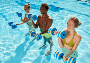 aqua aerobics classes in Dubai with Nader