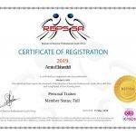 Amira PT Dubai REPS Certificate