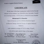 Mohammed - PT in Sharjah, Training Certificate