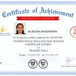Sharjah Yoga Coach Rajeesha - Training Certificate