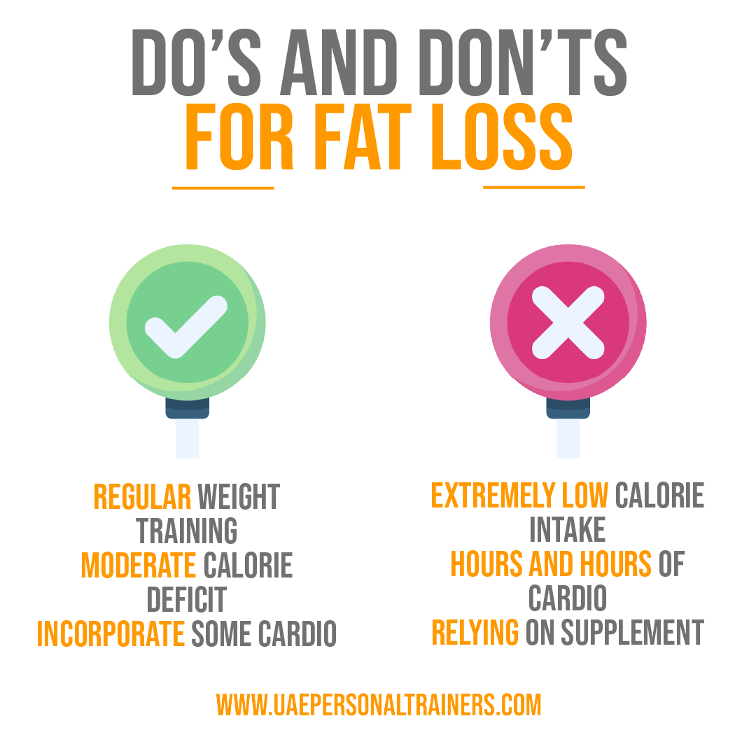 do and dont for fat loss image - uae personal trainers