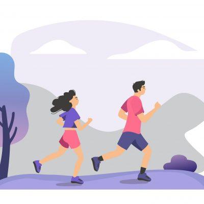 Couple practicing trail run training